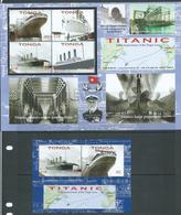 Tonga 2012 Titanic Ship Anniversary Sheet Of 4  & Miniature Sheet MNH - Tonga (1970-...)