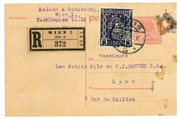 AUTRICHE ENTIER CP PERFORE 1923 WIEN ENTIER ET TIMBRES PERFORE P.S.& K. (KALMAN & SCHUSCHNY) CP RECOMMANDEE - Lettres & Documents