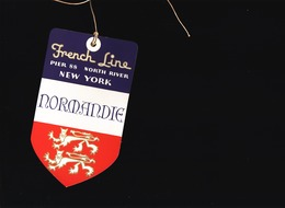 Marine / Cie Gle Transatlantique C.G.T. / Etiquette De Bagage, Paquebot Normandie New York French Line - Titres De Transport