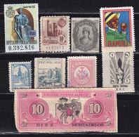 9 VIÑETAS SURTIDAS (2 DE NAVARRA, ALICANTE, ALCOY, MALAGA, ETC.) VER IMAGEN Y DESCRIPCION - OFERTA POR LIQUIDACIÓN - Spanish Civil War Labels
