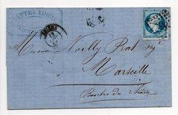Lettre Distillateur Liquoriste PATTE, AMIENS Pour MARSEILLE 13.12.1865 - 20 C. Bleu Napoléon III Oblitéré Losange GC 85 - 1849-1876: Période Classique