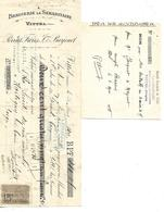 Traite 1899 & Bon De Livraison (13 X 10.5cm) 1938 / 88 VITTEL Brasserie LA SAMARITAINE / Perrut & Barjonet - 1800 – 1899