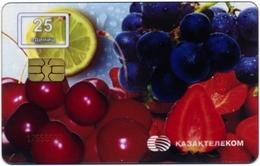 KAZAKHSTAN KAZAKTELECOM 25 UNITS CHIP PHONECARD TRANSPARENT TELEPHONE CARD FRUITS And BERRIES VERY GOOD USED - Kazakhstan