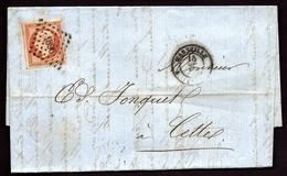 LET- 1- LETTRE TIMBRE EMPIRE 40 Ct N° 16c PERCÉ EN LIGNE- GC N° 1896 + CAD MARSEILLE  1856- - 4 SCANS - Marcophilie (Lettres)