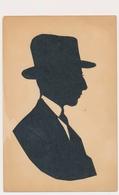 Silhouette Hat  Man,  Homme Original Vintage Hand Made Silouette Siluette Old Card - Silhouettes