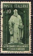 ITALIA - 1950 - 9° CENTENARIO DELLA MORTE DI GUIDO D'AREZZO - USATO - 1946-60: Afgestempeld