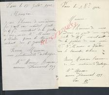 2 LETTRES DE Mr MOREAU AVENUE DAUMESNIL N° 193 1912 : - Manuscrits