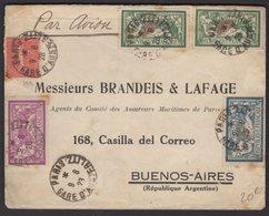 PARIS: Enveloppe PAR AVION Avec 10FX2 +5F +3F Type MERSON +50c Semeuse  Oblt CàD 04 A4 PARIS > BUENOS AIRES - Marcophilie (Lettres)