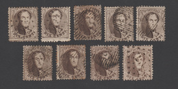 COB 14 - Lot De 9 Timbres - 1863-1864 Medallions (13/16)