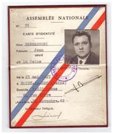 1962 - Carte De Député De La Seine De Jean Bernasconi (Noisy-le-Sec 1927 - Garches 1995) -  FRANCO DE PORT - Non Classés