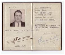 1967 - Carte D'ancien Député De La Seine De Jean Bernasconi (Noisy-le-Sec 1927 - Garches 1995) -  FRANCO DE PORT - Non Classés