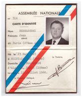 1968 - Carte De Député De Paris De Jean Bernasconi (Noisy-le-Sec 1927 - Garches 1995) -  FRANCO DE PORT - Non Classés