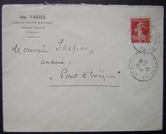 Deauville 1915 Am Vassel Architecte Expert  (Calvados) - Marcophilie (Lettres)