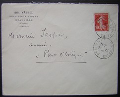 Deauville 1915 Am Vassel Architecte Expert  (Calvados) - Postmark Collection (Covers)