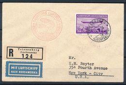 Liechtenstein 1936: Zeppelin LZ 129 EUROPA-NORDAMERIKA Zu F15 Mi 150 Mit O TRIESENBERG 4.V.1936 Nach New York, - Poste Aérienne