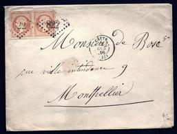 LET- 1- ENVELOPPE AVEC TIMBRAGE 80 Ct PAIRE EMPIRE N° 23 COIN DE FEUILLE HAUT- 1866- DE CETTE A MONTPELLIER- 3 SCANS - Marcofilie (Brieven)