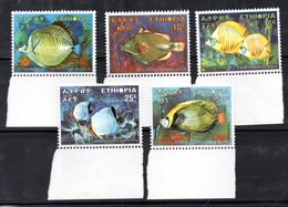 ETP154 - ETIOPIA 1970 ,  Yvert  N. 563/567 *** MNH Pesci Fish - Etiopia
