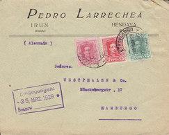 Spain PEDRO LARRECHEA, IRUN 1929 Cover Letra HAMBURG Germany 3-Colour Franking Alphonse XIII. - 1889-1931 Royaume: Alphonse XIII