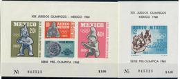 MESSICO 1965 - SERIE PREOLIMPICA 1965 - GIOCHI OLIMPICI MEXICO 1968 - 2 FOGLIETTI MNH - Messico