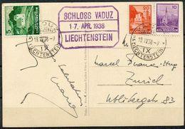 """Liechtenstein 1938: Zu 107+109+127  Mi 128+130+157 Yv 119+121+141 Auf Bild-PK (CPI) """"Schloss Vaduz"""" Mit O VADUZ 18.IV.38 - Liechtenstein"""