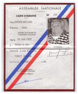 Carte De Membre Honoraire De L'Assemblée Nationale - Jean Bernasconi (Noisy-le-Sec 1927 - Garches 1995) - FRANCO DE PORT - Non Classés