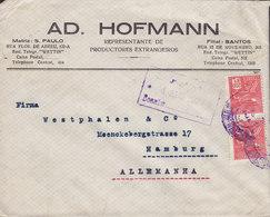 Brazil AD. HOFMANN Representaces, RIO DE JANEIRO 1927 Cover Letra HAMBURG Germany - Brasil