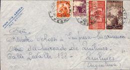 1950 DEMOCRATICA £.10, 20, 50 E 100 Su Busta Via Aerea Roma (20.4)  Per L'Argentina - 6. 1946-.. Repubblica