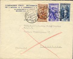 1951 ITALIA LAVORO £. 15, 20 E 100 Su Busta Milano (16.5) Per La Germania - 6. 1946-.. Repubblica