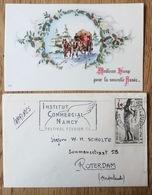 France 1963, Flamme Institut Commercial Nancy, Nancy Gare, Croix Rouge Red Cross, Avec Carte De Noël, Esperanto - Frankrijk