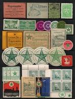ESPERANTO - ERINNOPHILIE / ENSEMBLE DE 34 VIGNETTES ANCIENNES (ref 6239) - Esperanto