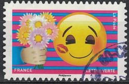 France 2018 Oblitéré Rond Used Emoji Les Messagers De Vos Émotions Offrir Des Fleurs Y&T 1563 SU - France