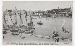 (RECTO / VERSO) CANNES EN 1921 - N° 20 - LE PORT ET LE MONT CHEVALIER - CASSURE ANGLE HAUT A DROITE - CPA VOYAGEE - Cannes