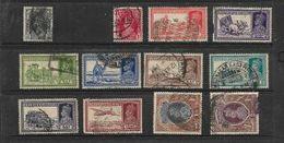 India, GVIR, 1937 -40, 12 Used Stamps , 3 Pies To 2 Rupees. - 1936-47 King George VI