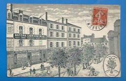 """56 - LORIENT - PUBLICITÉ  PATISSERIE CONFISERIE """"GATEAU LORIENTAIS"""" - CARTE COMMMERCIALE - VERSO - 1910 - Lorient"""