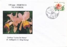 """Set Van 3 Omslagen - 150 Jaar HORTECO - Vilvoorde - Stempel Orchis Cattleya """"Lucien De Metter"""" In Stempel - Orchids"""