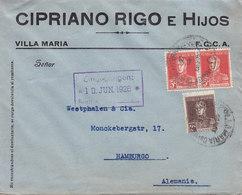 Argentina CIPRIANO RIGO E HIJOS, VILLA MARIA 1926 Cover Letra HAMBURG Alemania Germany - Argentina