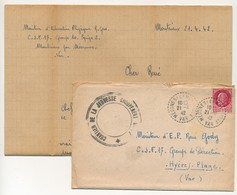 MEOUNES LES MONTRIEUX (Var) 1942 - Cad CHANTIER DE LA JEUNESSE N°17 // Cachet Postal Tireté - Marcofilia (sobres)