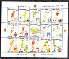 Colombia  - 1982. Calciatori E Clubs. Serie In Raro Blocco Numerato. Series In Rare Numbered Block MNH - Coppa Del Mondo
