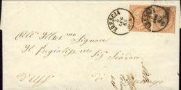 1865 EFFIGIE Coppia C.10 Tirat. Londra (L17) Su Lettera Completa Testo Brescia (3.7) - 1861-78 Vittorio Emanuele II