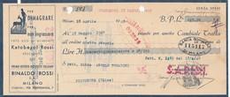 Cambiale Del 1940 S.A.P.I.D.I. Pubblicità Alimenti RINALDO ROSSI Tomadini - Cambiali