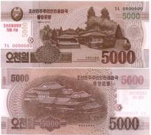 Korea North - 5000 Won 2013 / 2015 UNC 70 Years N. Korea Pick CS19 Serie 0000000 Lemberg-Zp - Korea, North