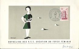 Carte Oeuvre Des Orphelins De La Poste, Foyer Féminin, 29/11/1956, Timbre Europa, Signée Gonzague, Numéro 07138 Au Dos - FDC
