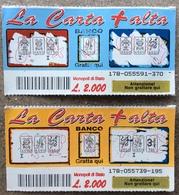 Coppia Di Biglietti Vincenti £ 2.000 GRATTA E VINCI  - La Carta Più Alta - Biglietti Della Lotteria