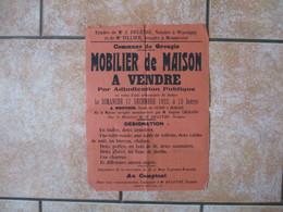 GROUGIS MOBILIER DE MAISON A VENDRE LE 17 DECEMBRE 1922 DEPENDANT DE LA SUCCESSION DE M. ET Mme LEGRAND-BRUNELET - Affiches