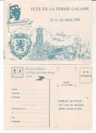 CARTE DE LA FETE DE LA FERME GALAME  A  LOON-PLAGE LE 25 & 26 MAI 1991 - Cartes