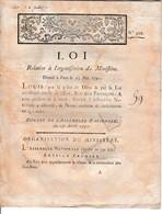 25 Mai 1791 - Loi Relative à L'ORGANISATION DU MINISTÈRE - - Historische Documenten