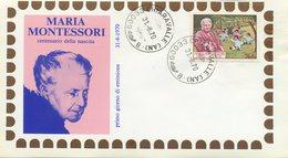 ITALIA - FDC  1970 - MARIA MONTESSORI - 1946-.. République