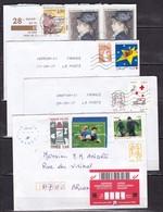 France - 100 Lettres Modernes Affranchies Avec Timbres Commemoratifs - France