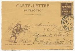 """Franchise Militaire - Carte-lettre """"Patriotic"""" - Simili Semeuse - Nos Diables Bleus - La Charge (1917) - Cartes De Franchise Militaire"""