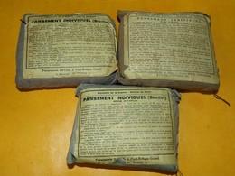 LOT DE 3 PANSEMENTS INDIVIDUELS FRANCAIS ,PANSEMENTS FROGER-GOSSELIN A SAINT REMY ( CALVADOS ) MARCHE DE GUERRE 1939 OU - Equipement